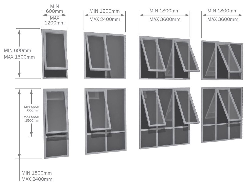 Aluminium Awning Window sizes