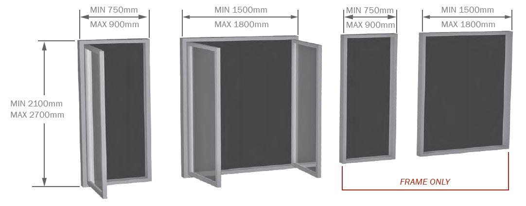 Aluminium Hinged Door sizes
