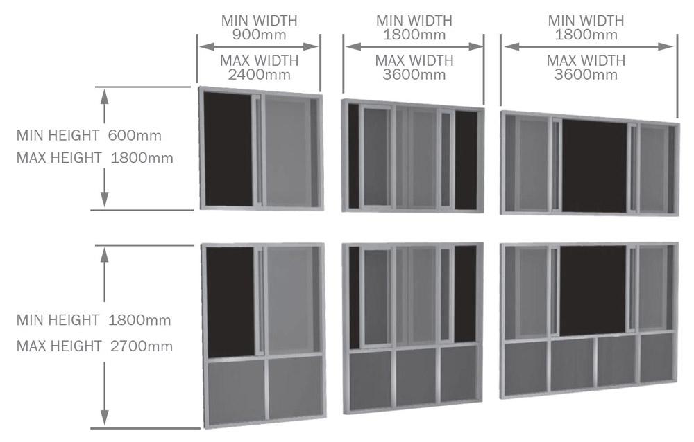 Aluminium Horizontal Sliding Window sizes
