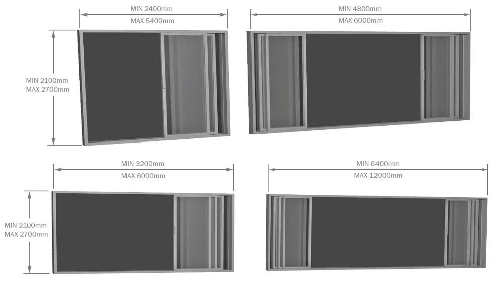 Aluminium Stacker Door sizes